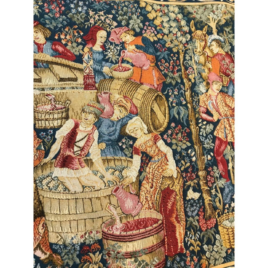 Tapestry with Scene of Medieval Wine Making w/ Rod - 5