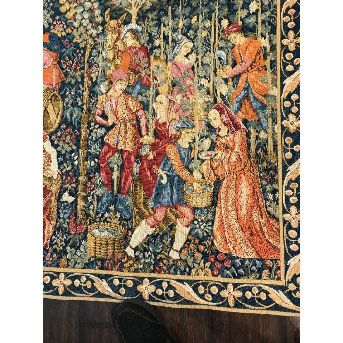 Tapestry with Scene of Medieval Wine Making w/ Rod - 6