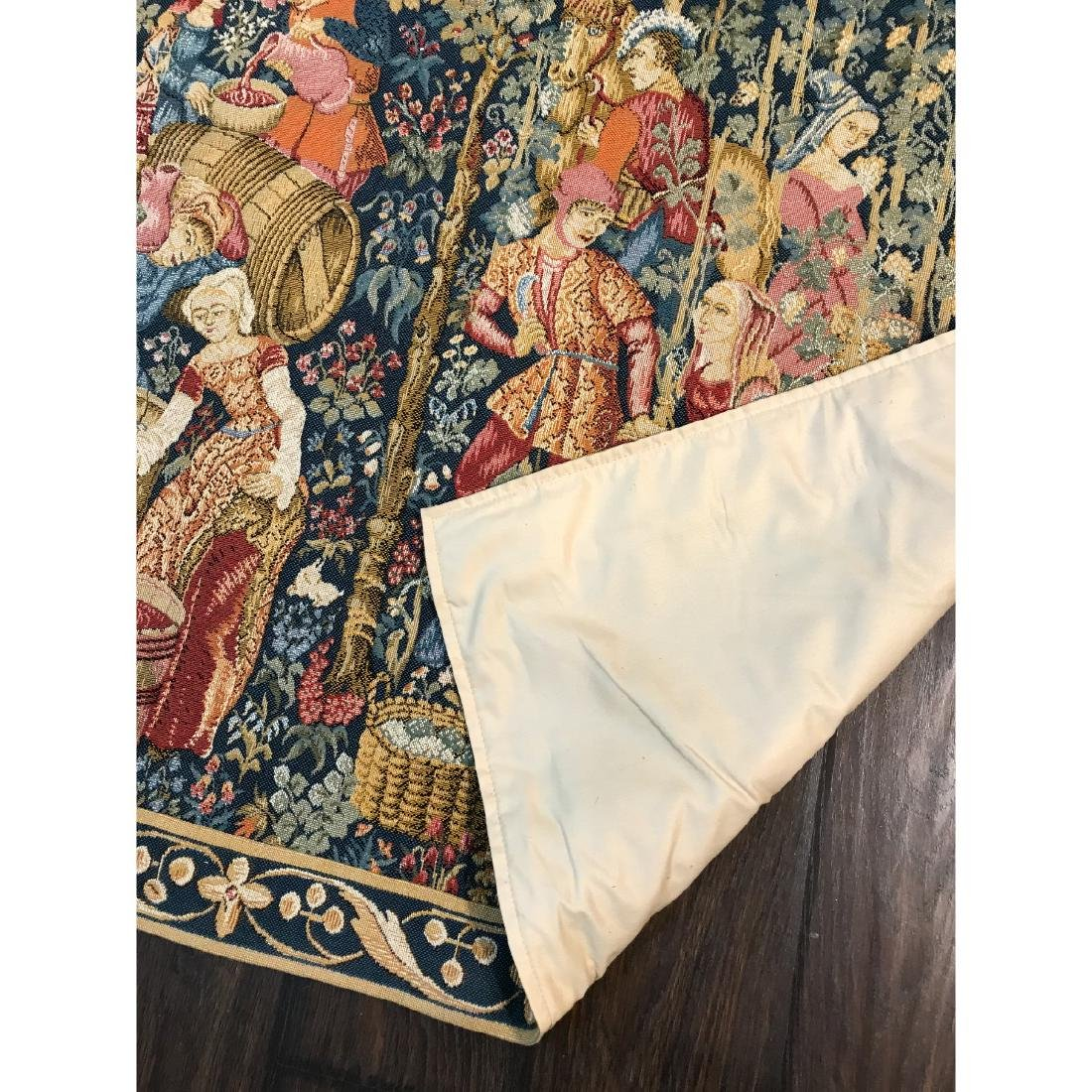 Tapestry with Scene of Medieval Wine Making w/ Rod - 8