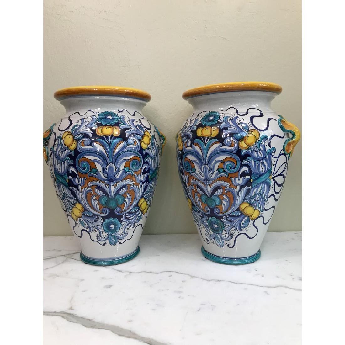Pair of Magnificnet Hand-Painted Vases