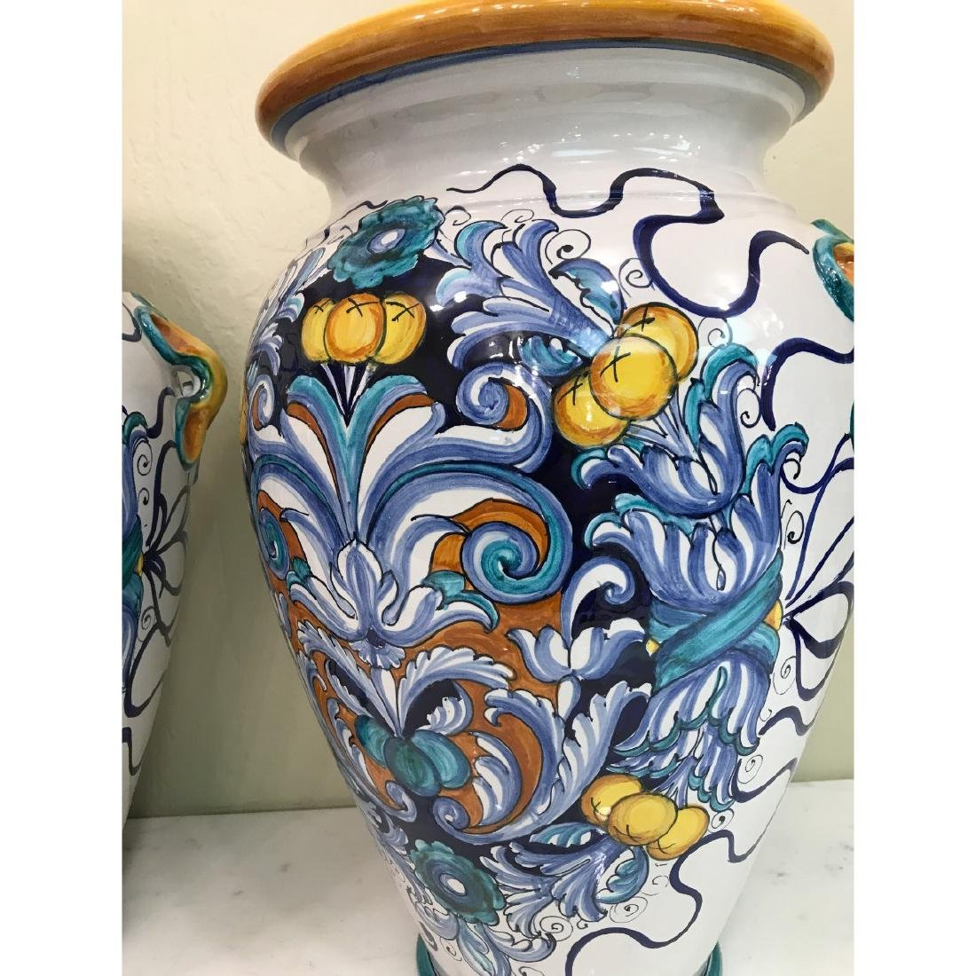 Pair of Magnificnet Hand-Painted Vases - 2