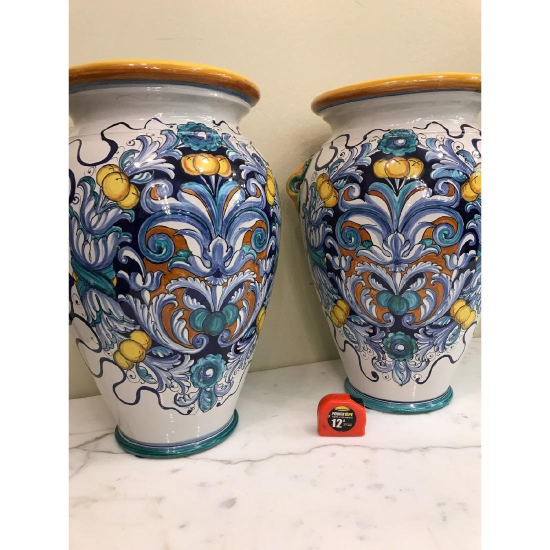 Pair of Magnificnet Hand-Painted Vases - 4