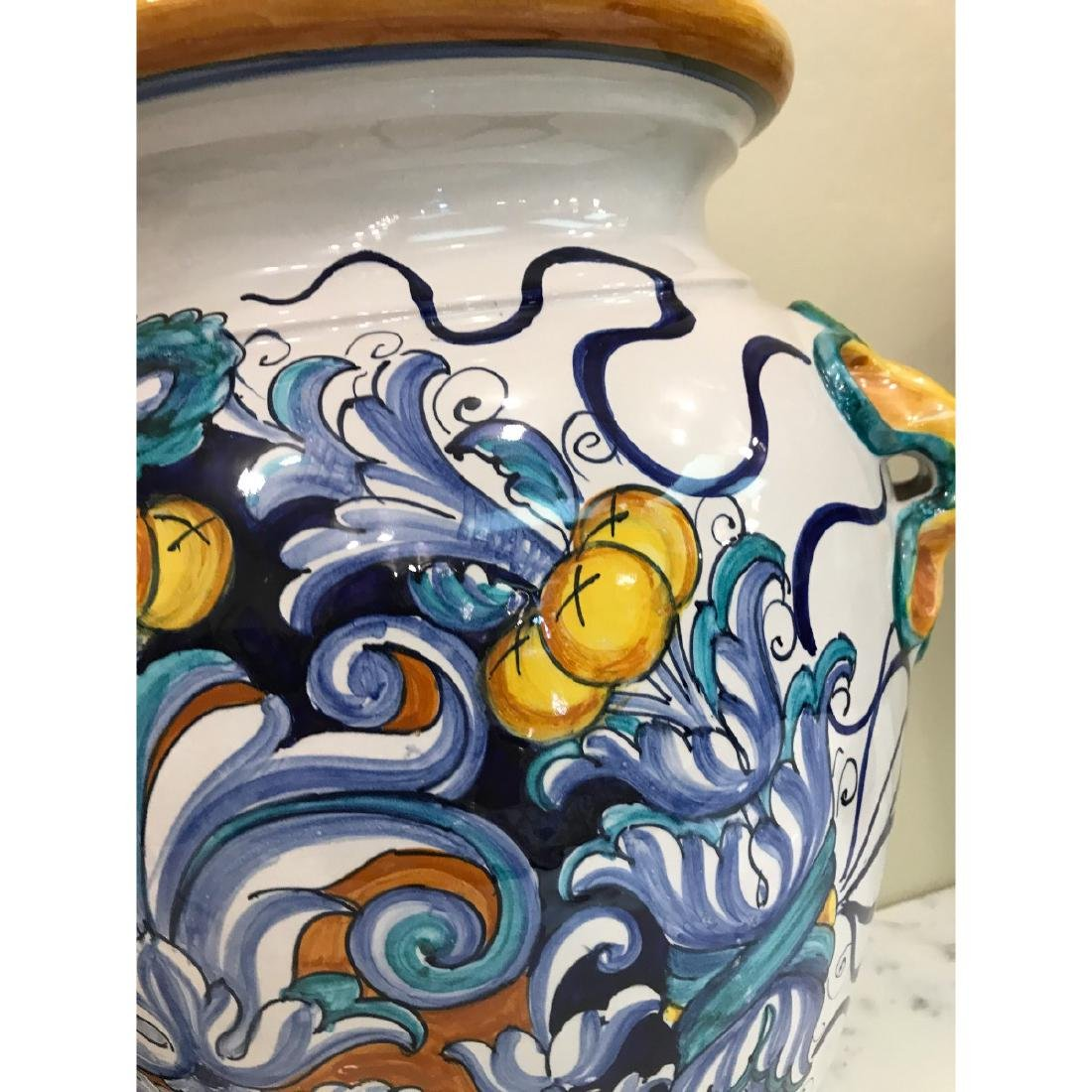 Pair of Magnificnet Hand-Painted Vases - 8