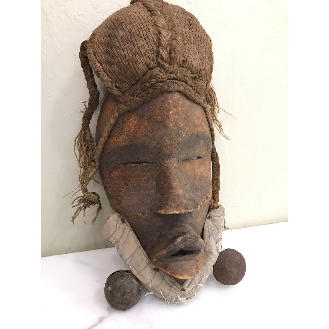 Rare Wooden African Mask with Bells