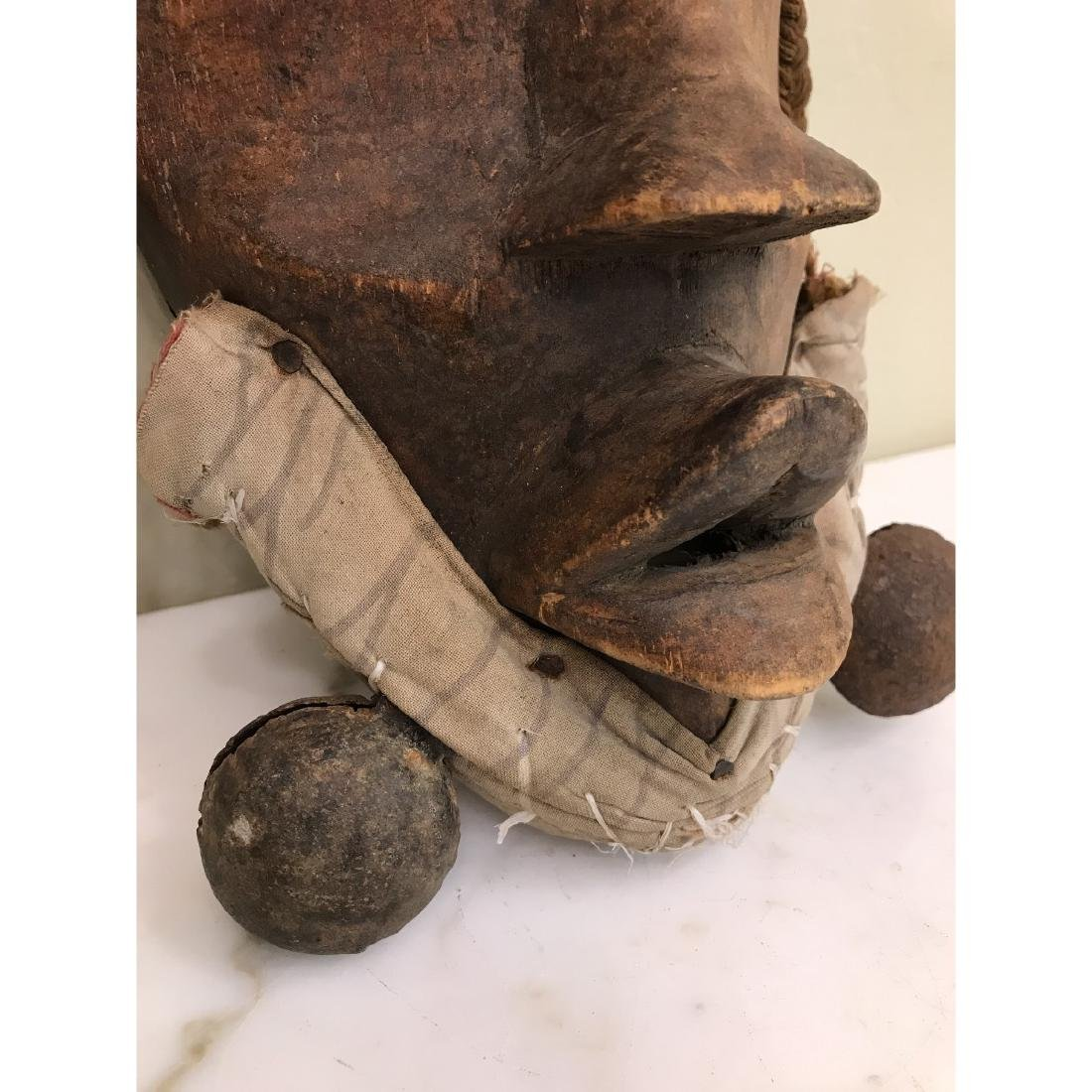 Rare Wooden African Mask with Bells - 3