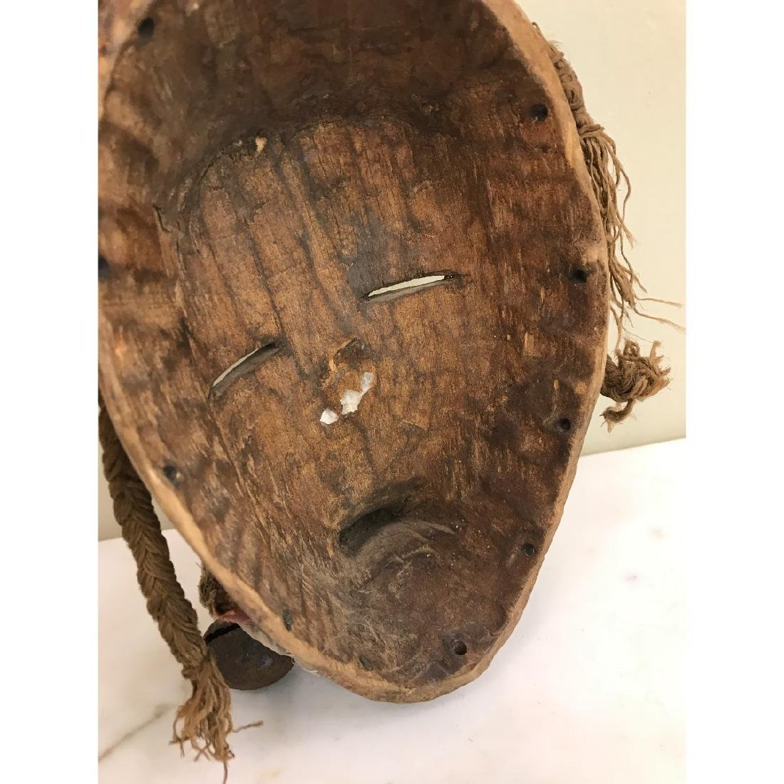 Rare Wooden African Mask with Bells - 5
