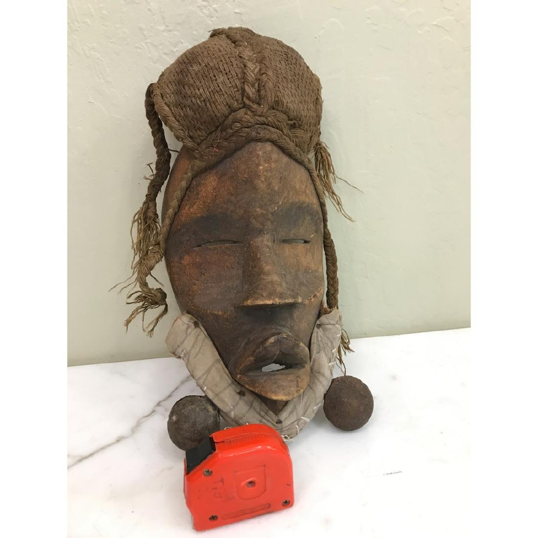 Rare Wooden African Mask with Bells - 8