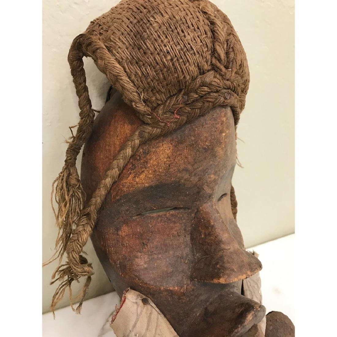 Rare Wooden African Mask with Bells - 9