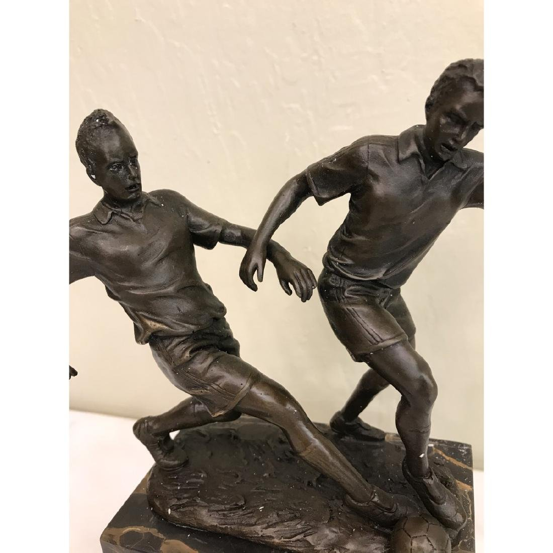 Bronze Statue of Two Soccer Players by Milo - 2
