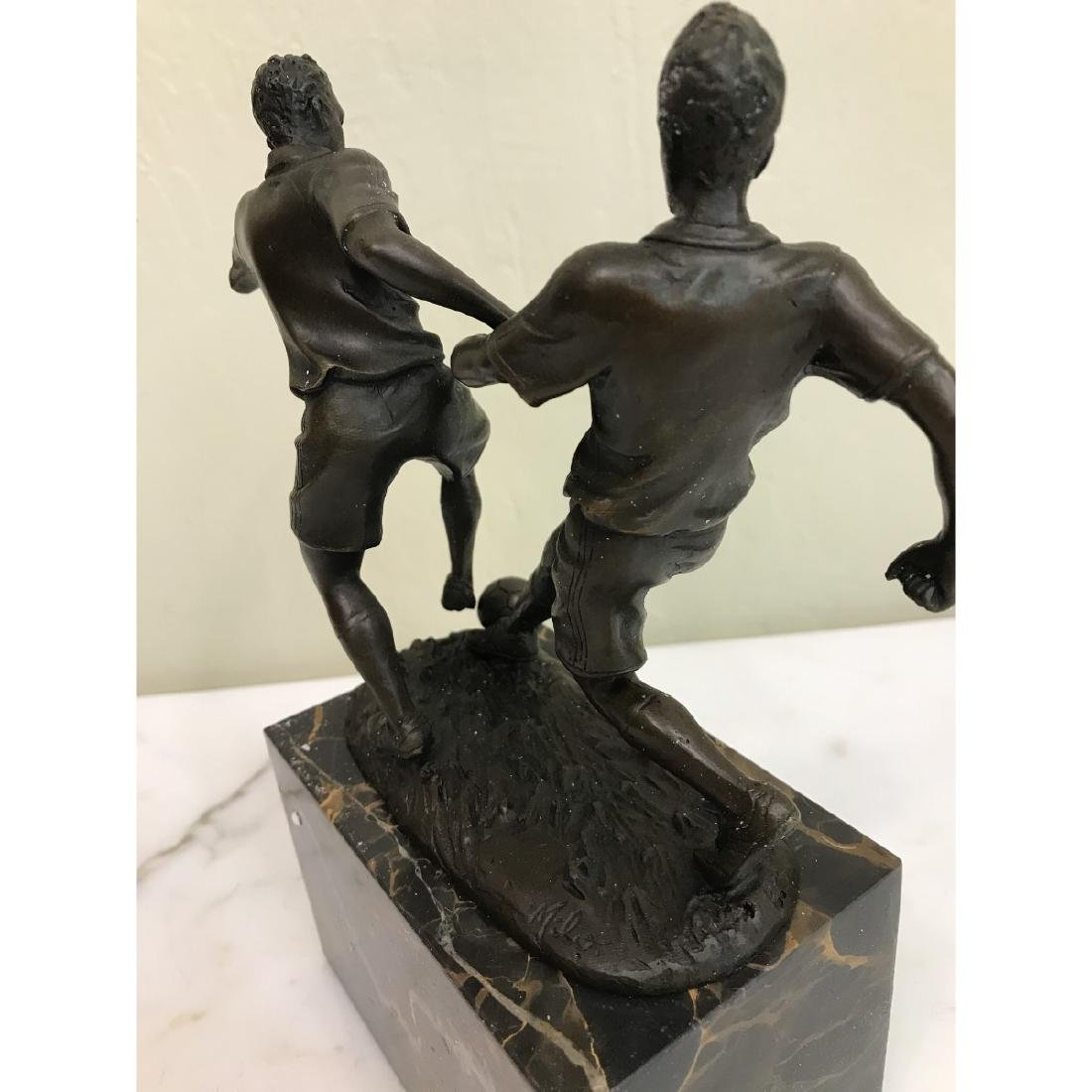 Bronze Statue of Two Soccer Players by Milo - 4