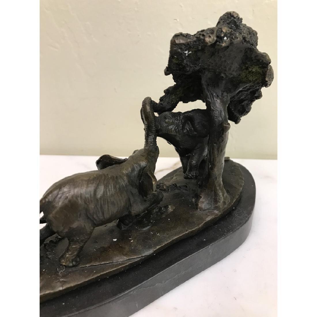 Miniature Bronze Statue of Group of Elephants - 4