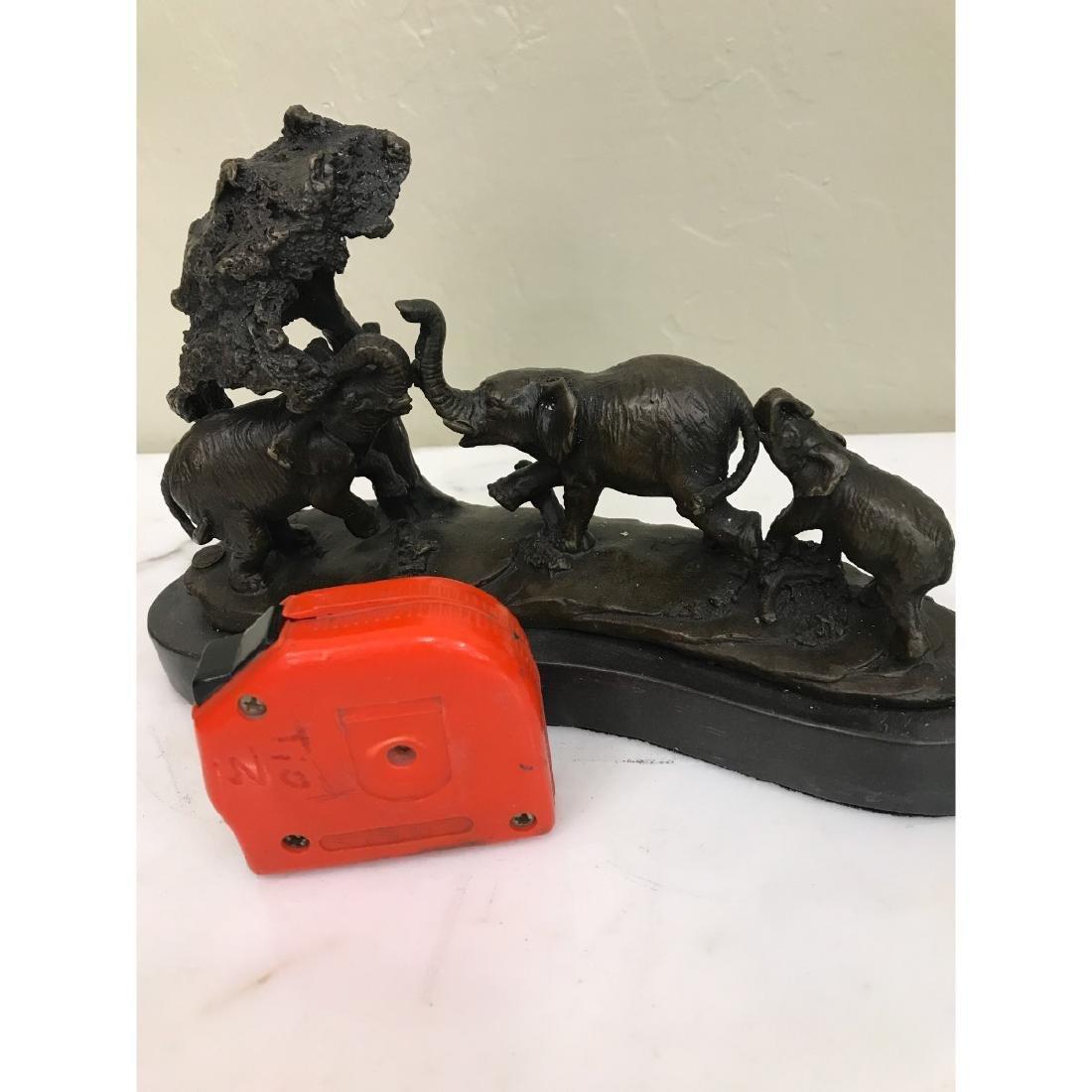 Miniature Bronze Statue of Group of Elephants - 5