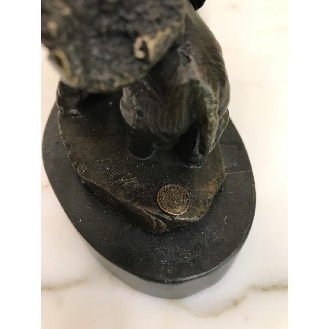 Miniature Bronze Statue of Group of Elephants - 8