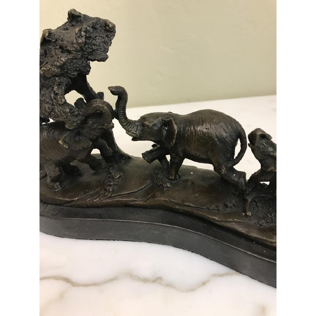 Miniature Bronze Statue of Group of Elephants - 9