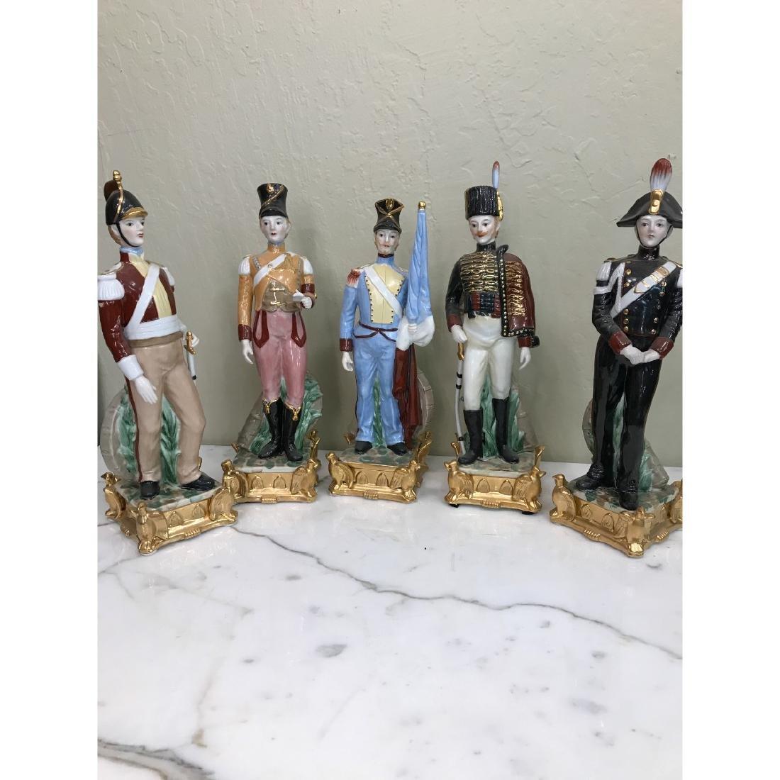 Set of 5 Porcelain Soldier Statues