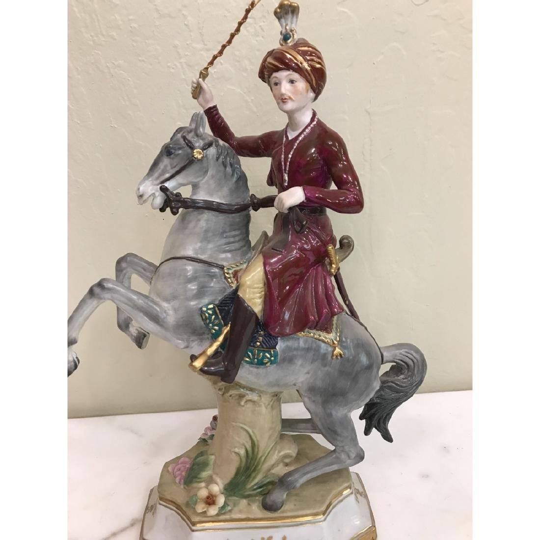 Porcelain Statue of Soldier on Horse