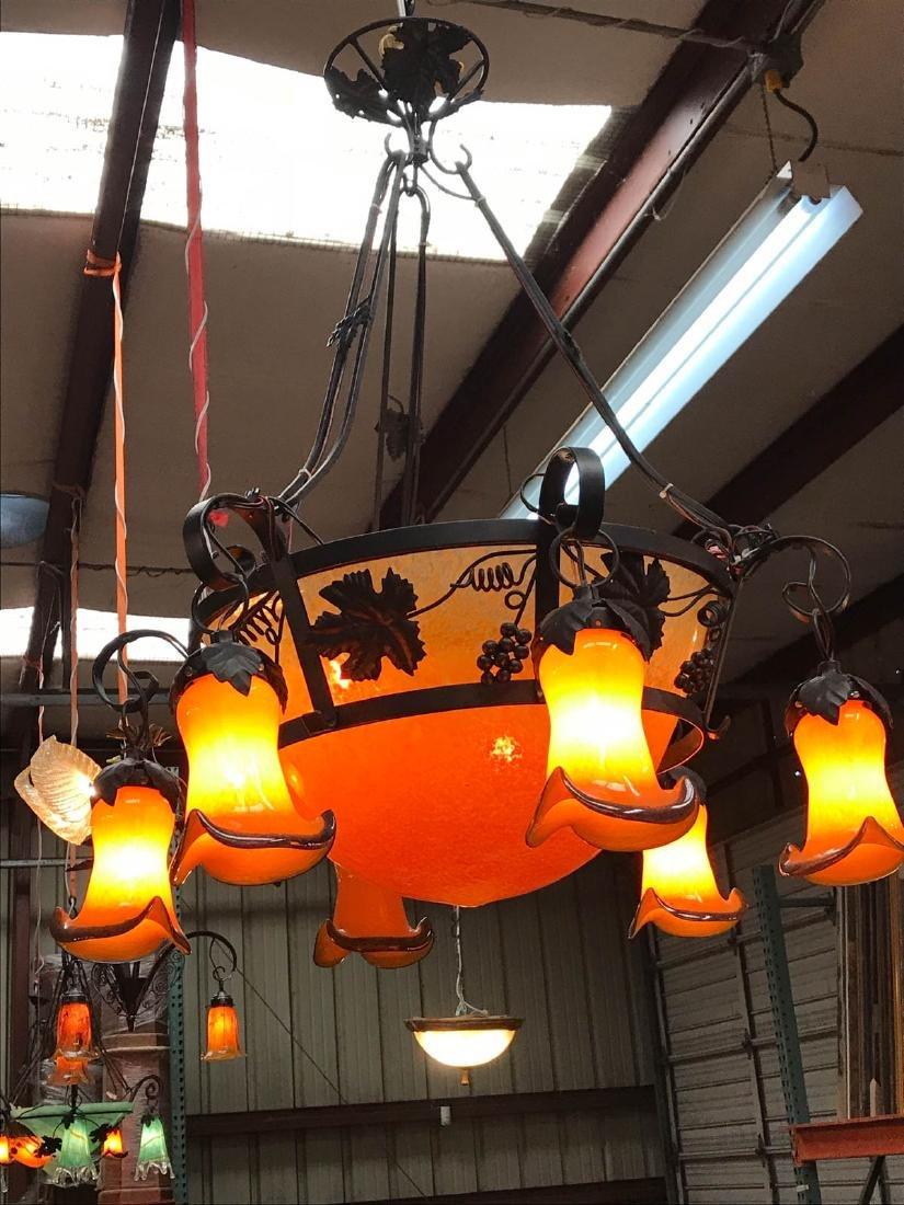 Orange Hand-Blown Glass, Wrought Iron Chandelier