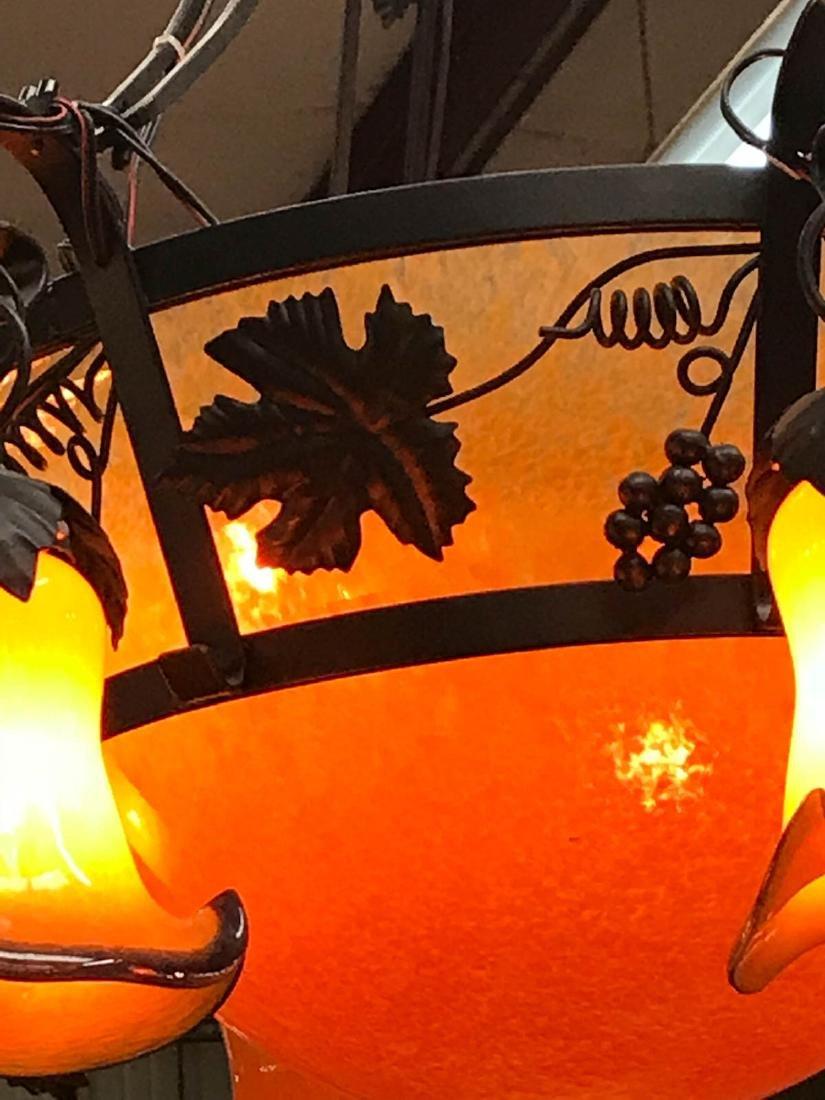 Orange Hand-Blown Glass, Wrought Iron Chandelier - 2