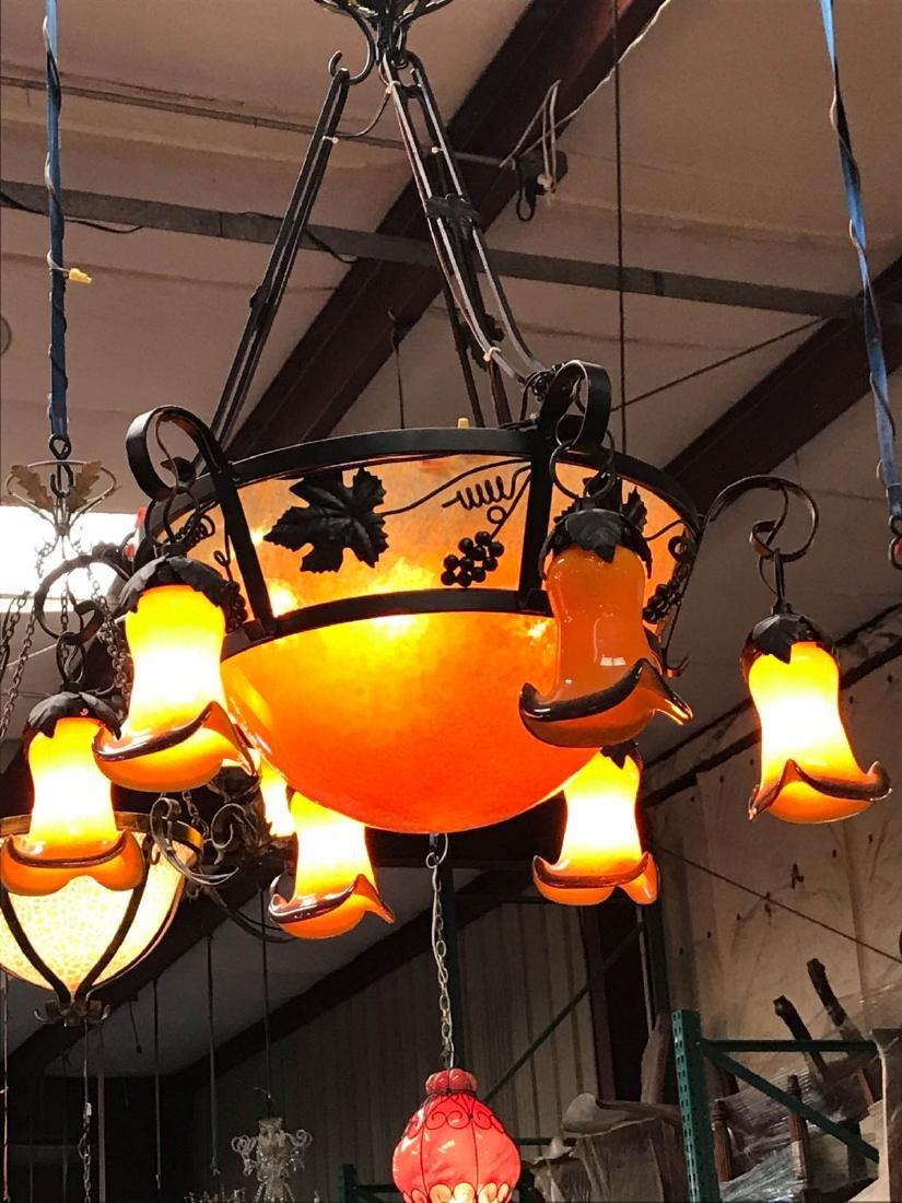 Orange Hand-Blown Glass, Wrought Iron Chandelier - 3