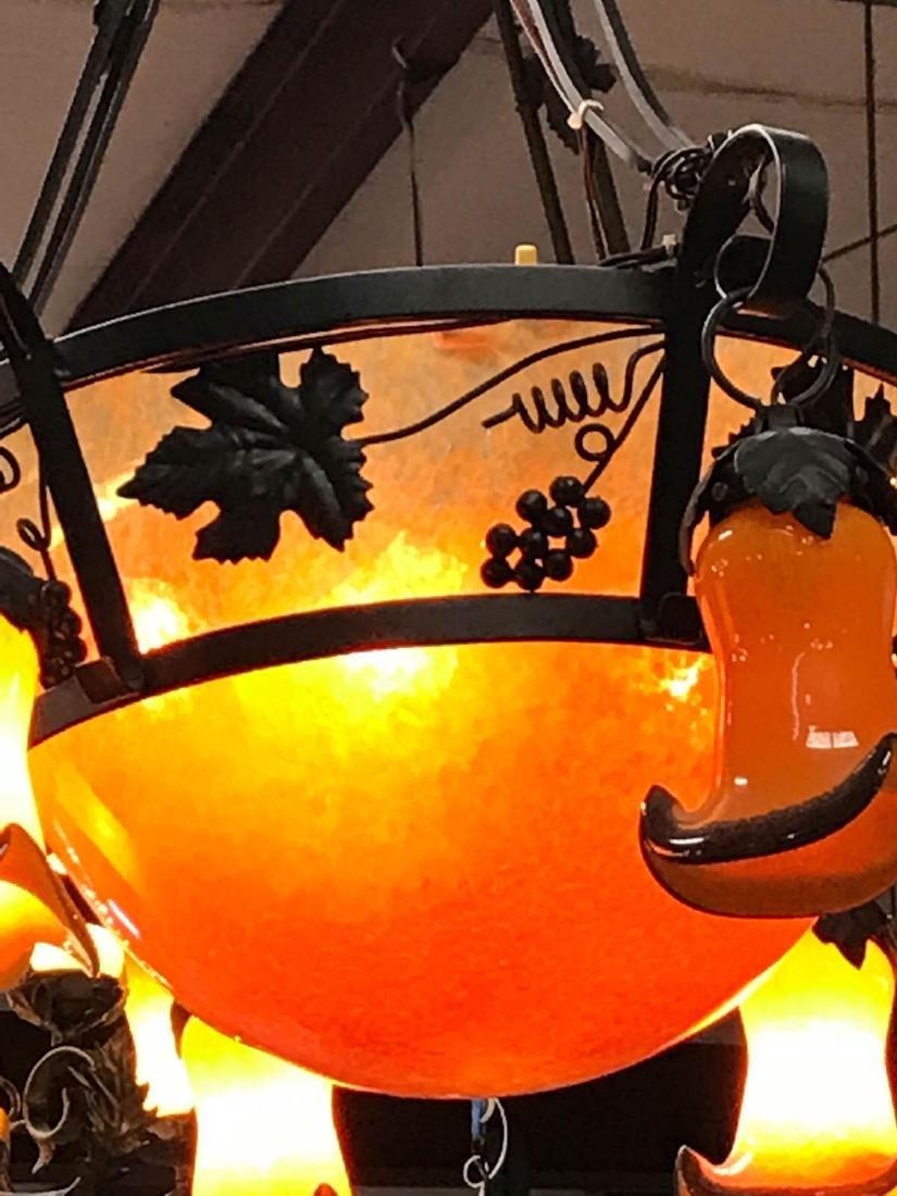 Orange Hand-Blown Glass, Wrought Iron Chandelier - 4