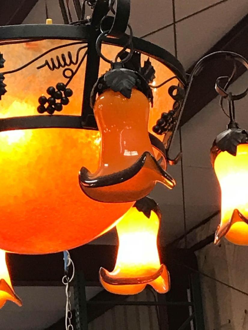 Orange Hand-Blown Glass, Wrought Iron Chandelier - 5