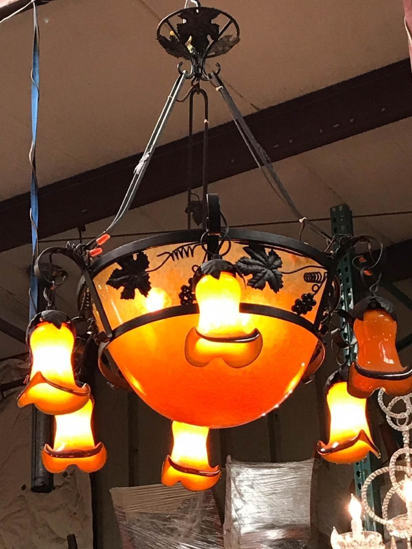 Orange Hand-Blown Glass, Wrought Iron Chandelier - 6