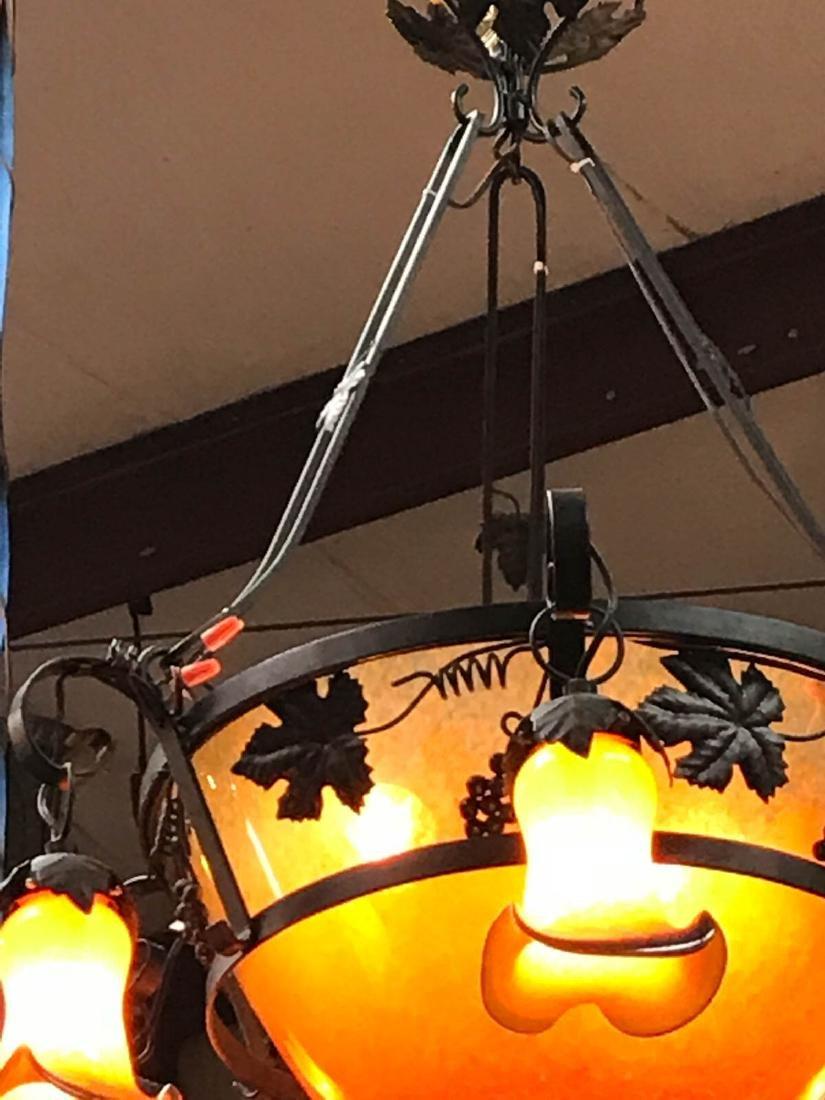 Orange Hand-Blown Glass, Wrought Iron Chandelier - 7