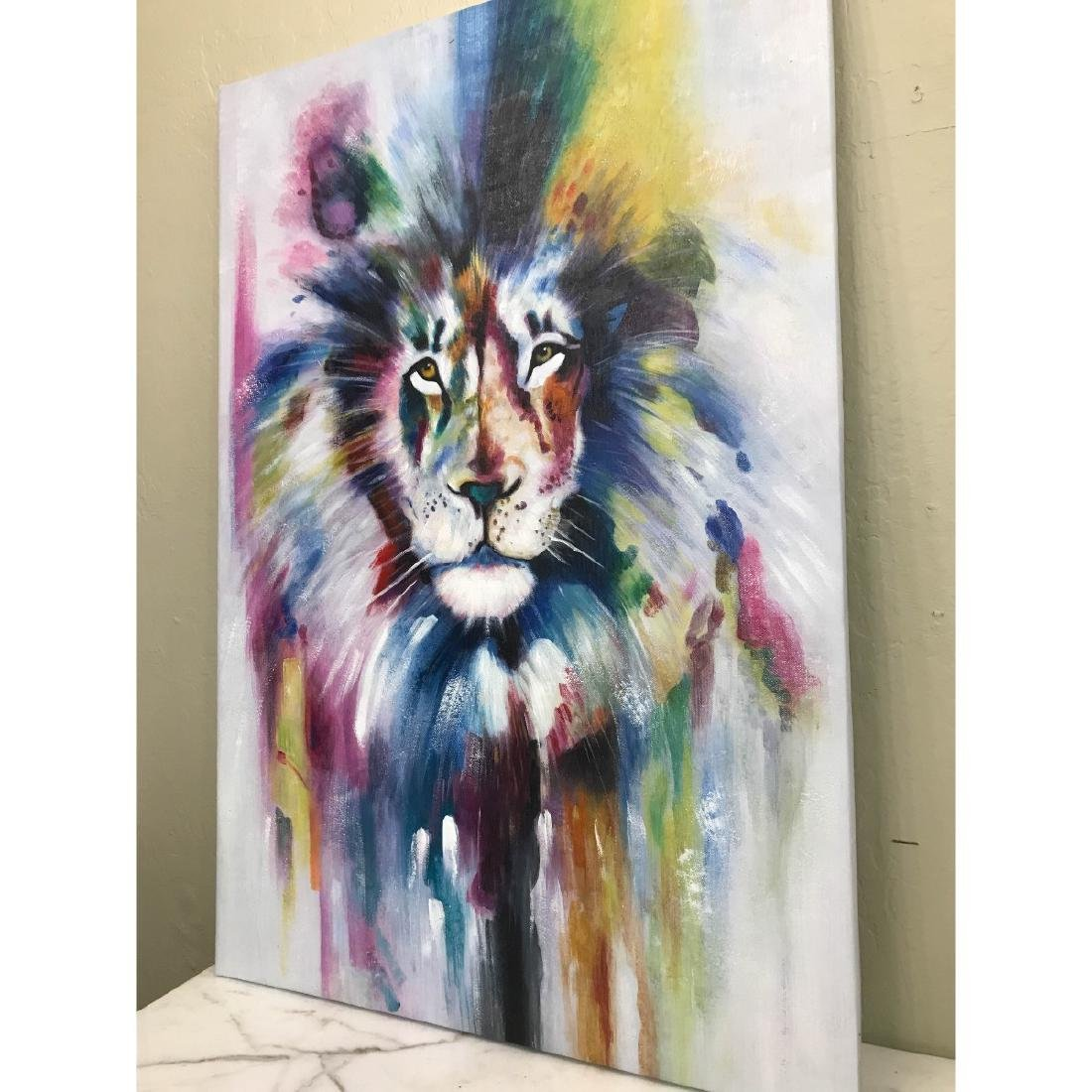 Abstract Oil on Canvas of Lion - 10