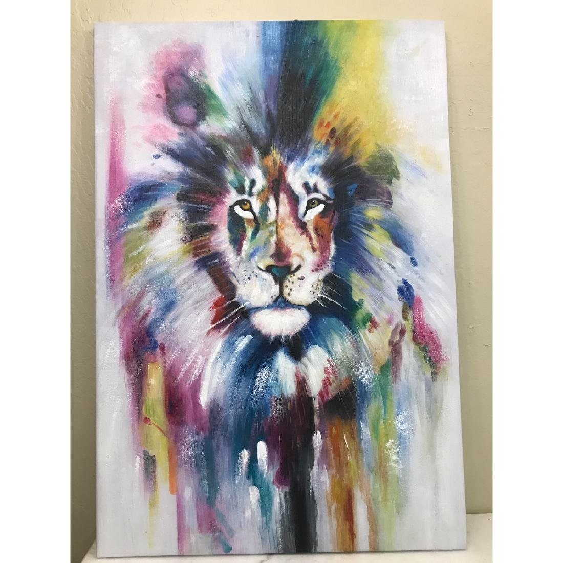 Abstract Oil on Canvas of Lion