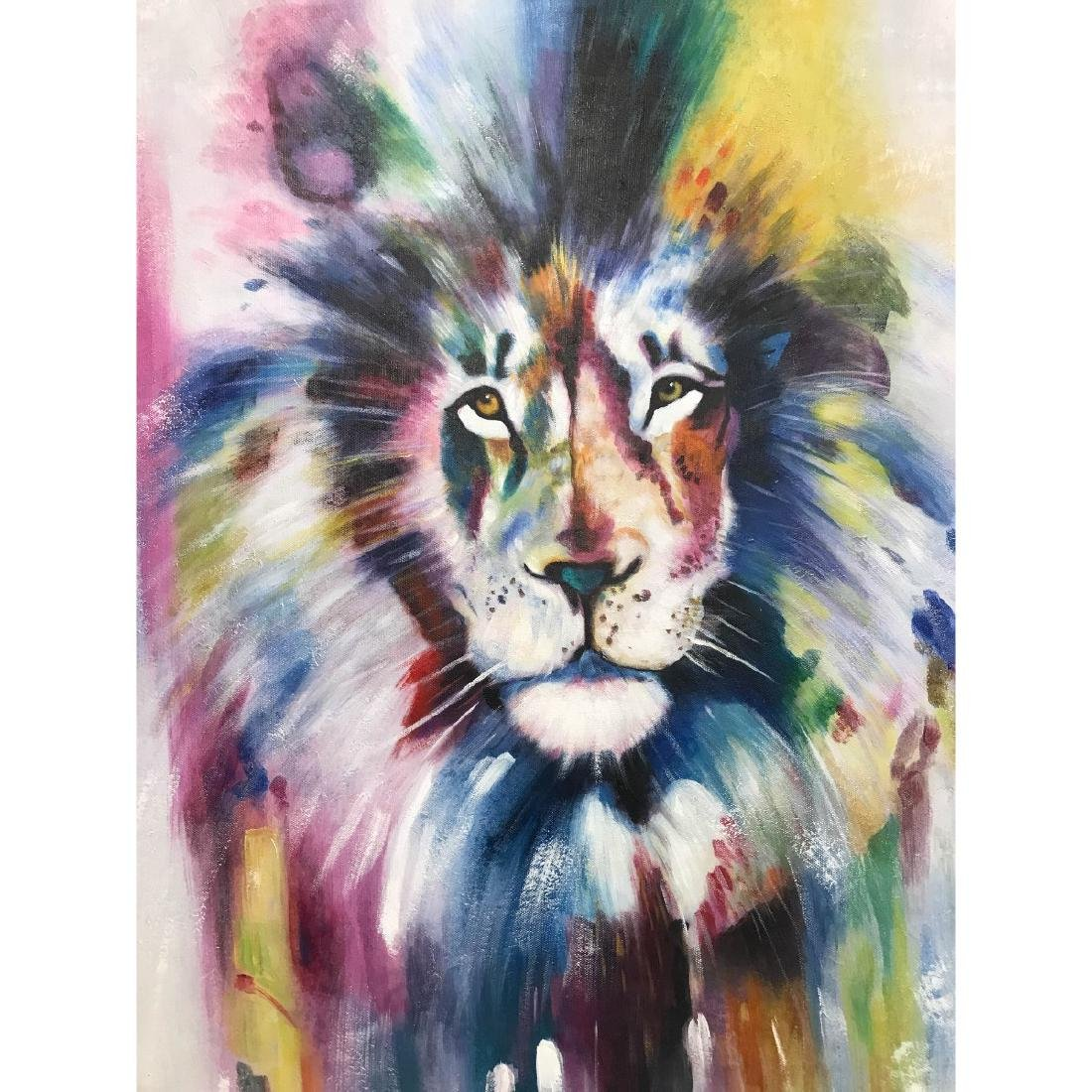 Abstract Oil on Canvas of Lion - 2