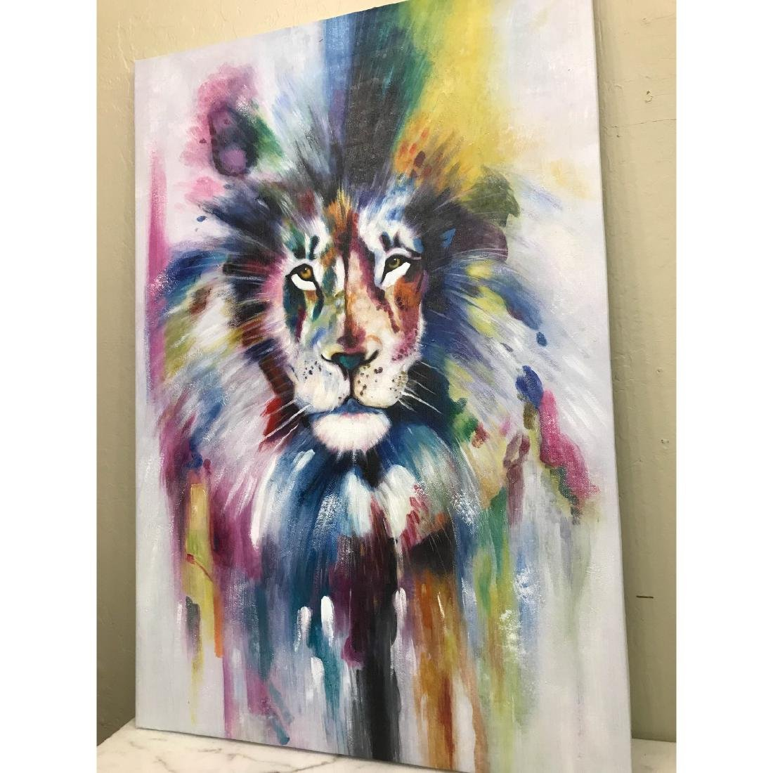Abstract Oil on Canvas of Lion - 3