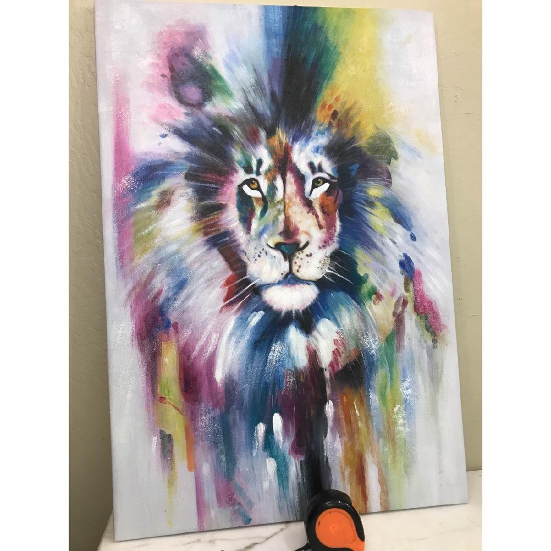 Abstract Oil on Canvas of Lion - 4