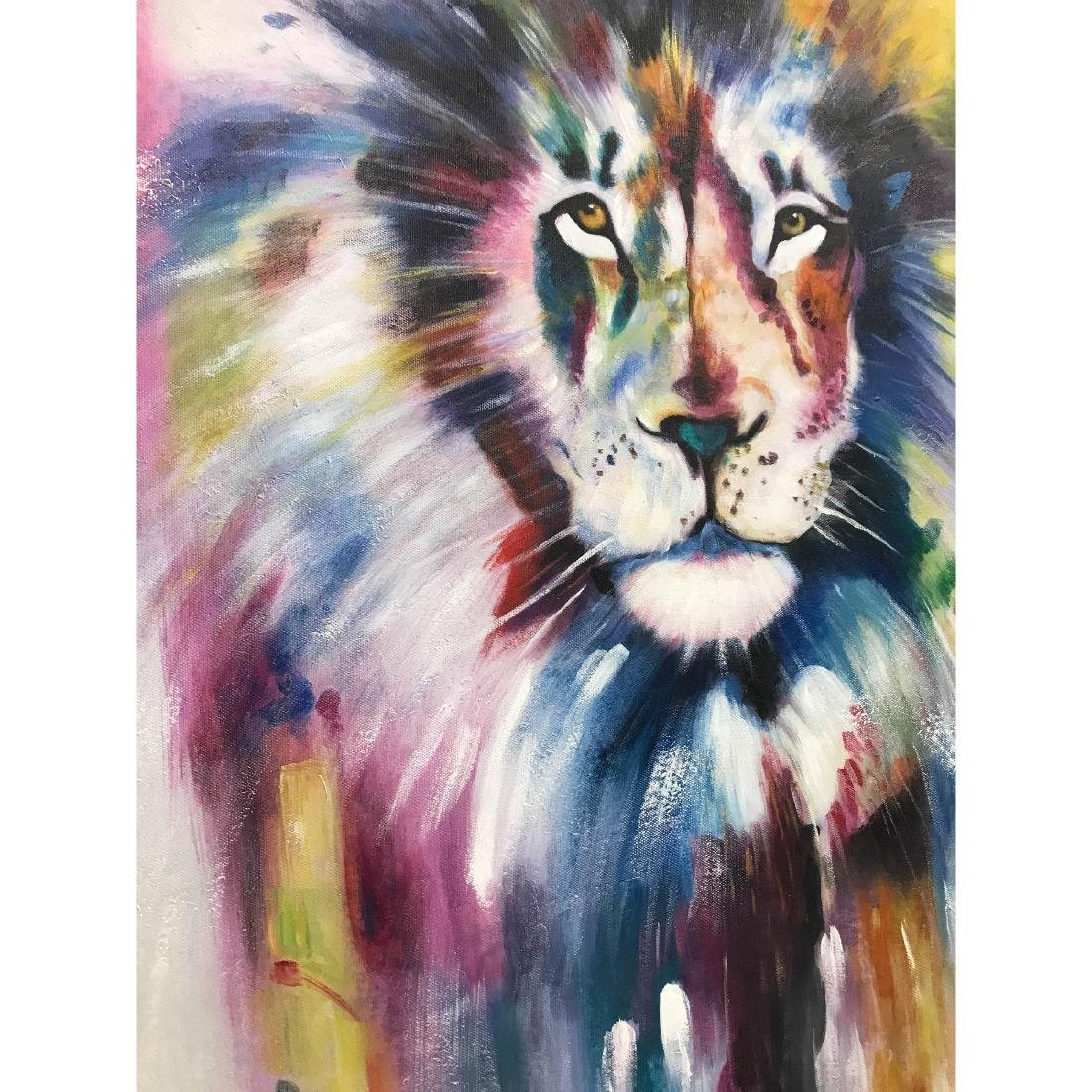 Abstract Oil on Canvas of Lion - 5