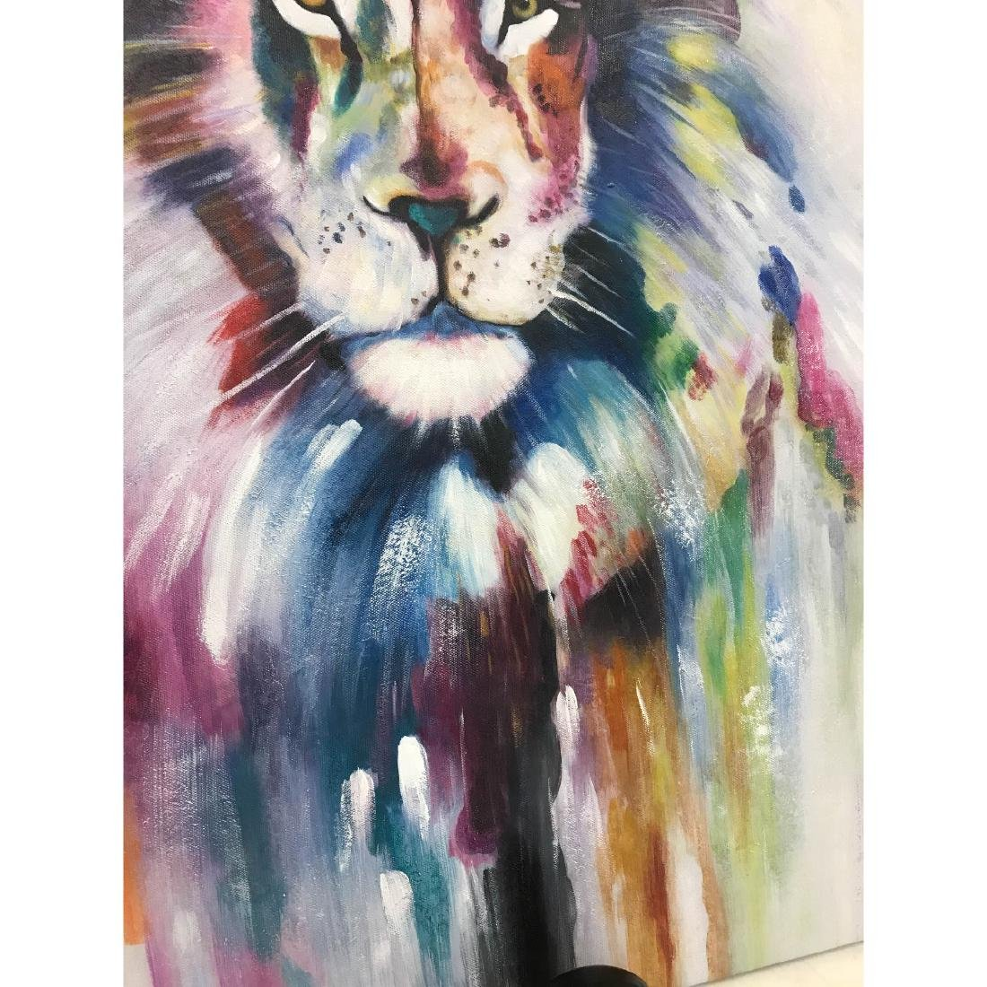 Abstract Oil on Canvas of Lion - 6