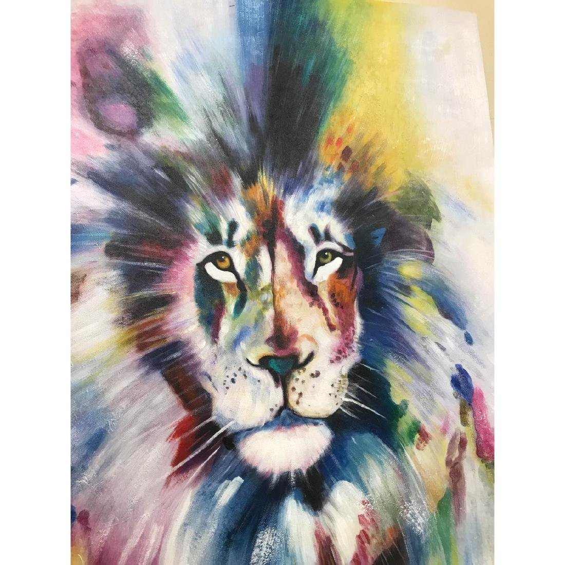 Abstract Oil on Canvas of Lion - 7