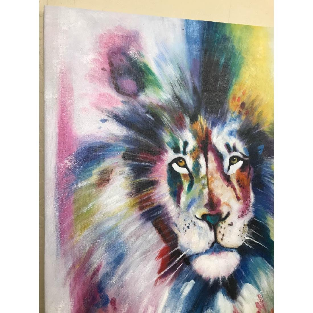 Abstract Oil on Canvas of Lion - 8