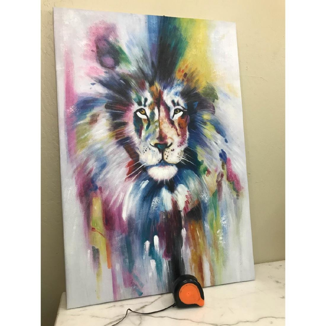 Abstract Oil on Canvas of Lion - 9