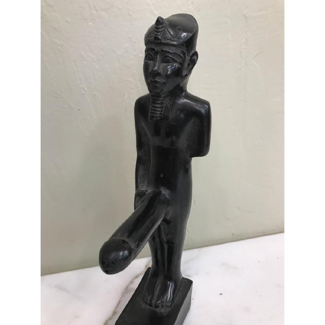 Erotic Carved Wood Statue of Egyptian Man - 2