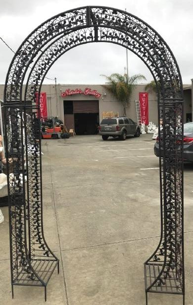 Wrought Iron Garden Arbor/Arch with Red Flowers