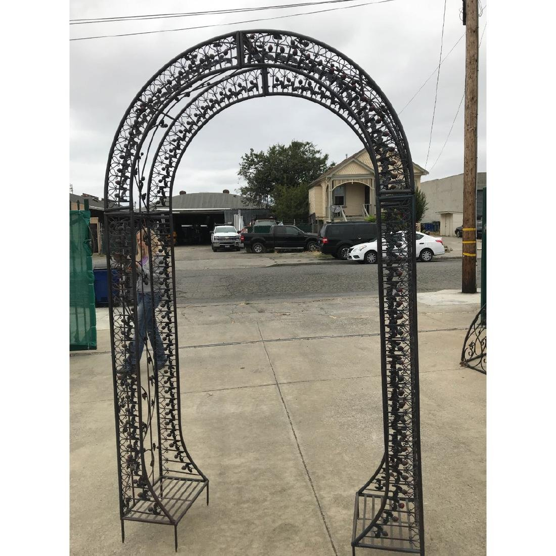 Wrought Iron Garden Arbor/Arch with Red Flowers - 4