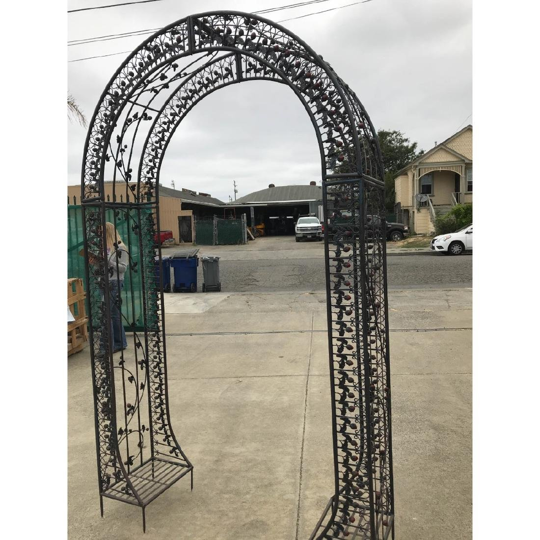 Wrought Iron Garden Arbor/Arch with Red Flowers - 7