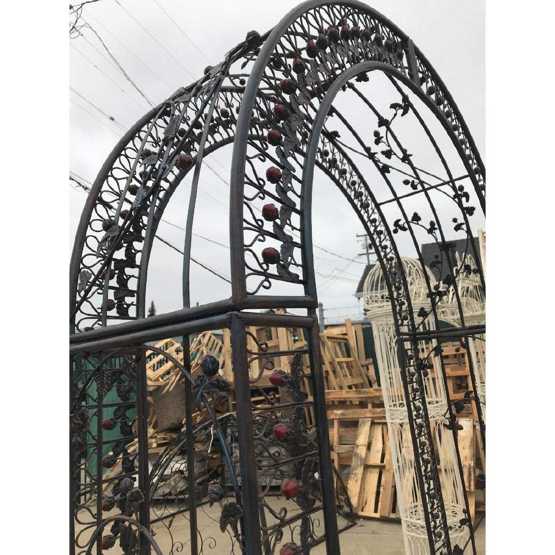 Wrought Iron Garden Arbor/Arch with Red Flowers - 8
