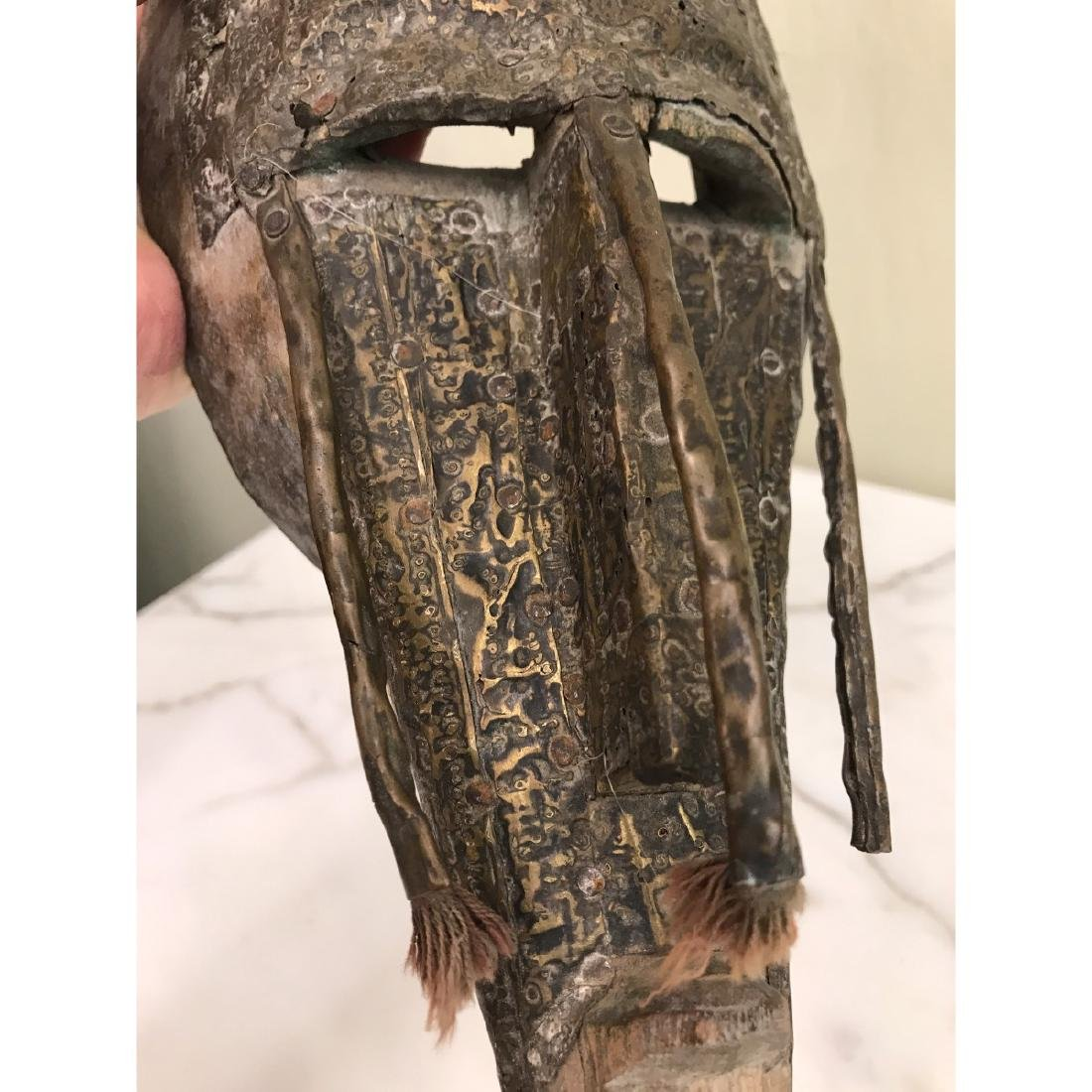Unique Wood and Copper African Mask - 8