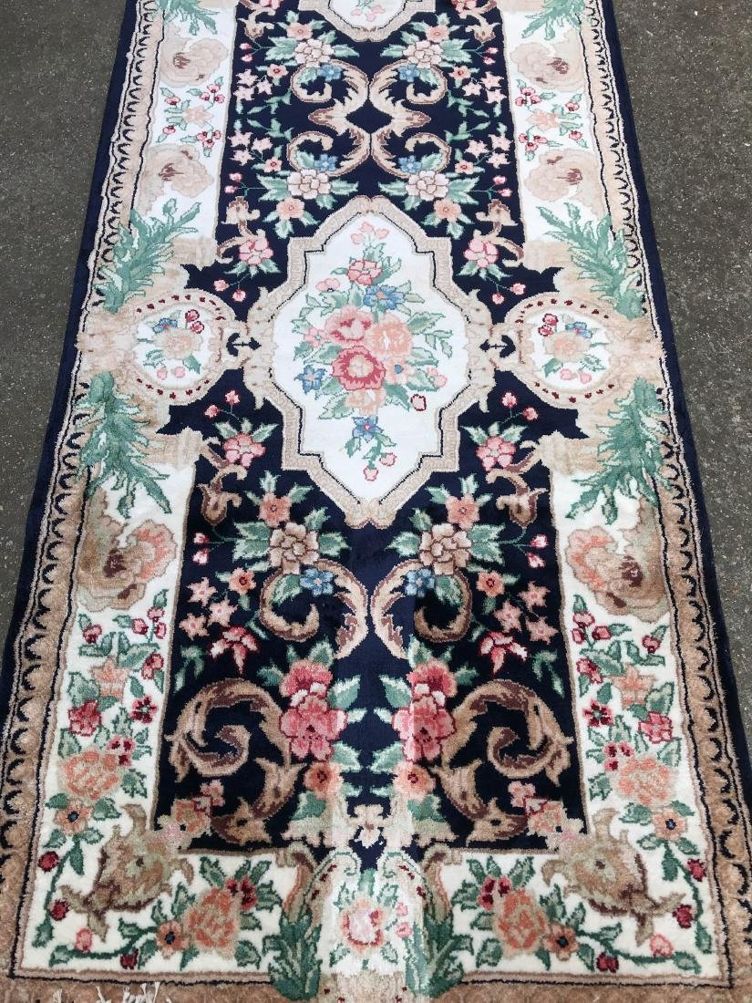 Silk and Wool Area Runner Rug - 3