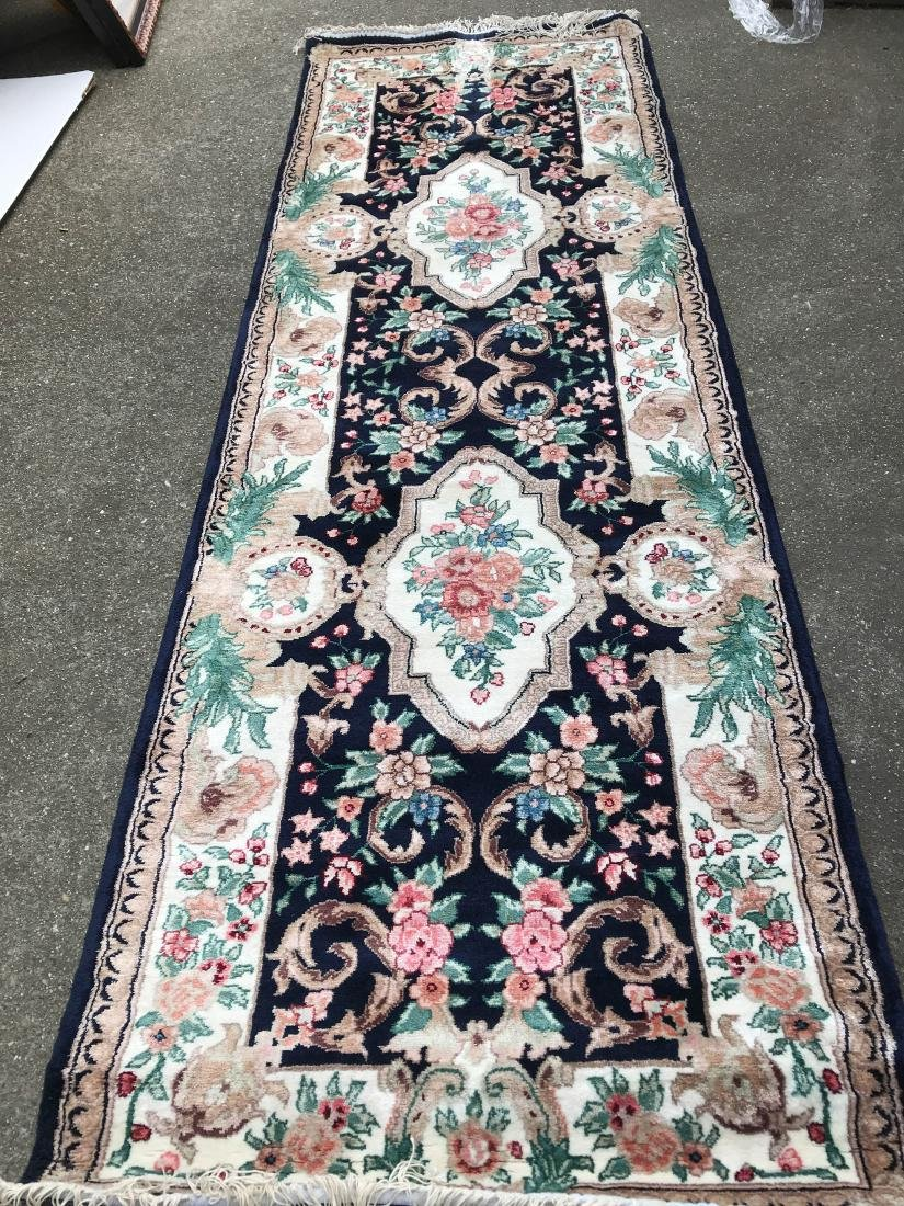 Silk and Wool Area Runner Rug - 4