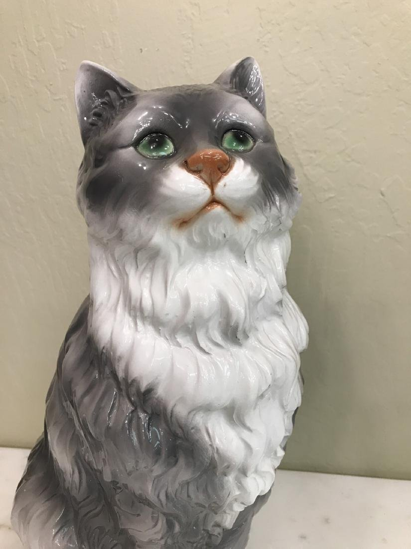 Capodimonte Gray and White Cat Statue - 2