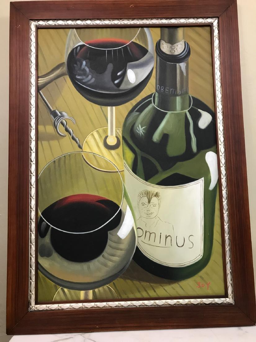 Oil on Canvas of Wine Bottle, Glasses