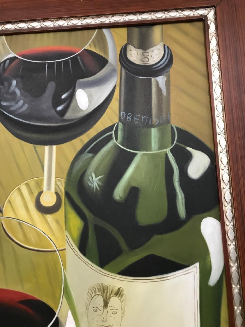 Oil on Canvas of Wine Bottle, Glasses - 2