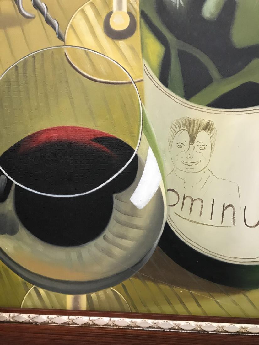 Oil on Canvas of Wine Bottle, Glasses - 3