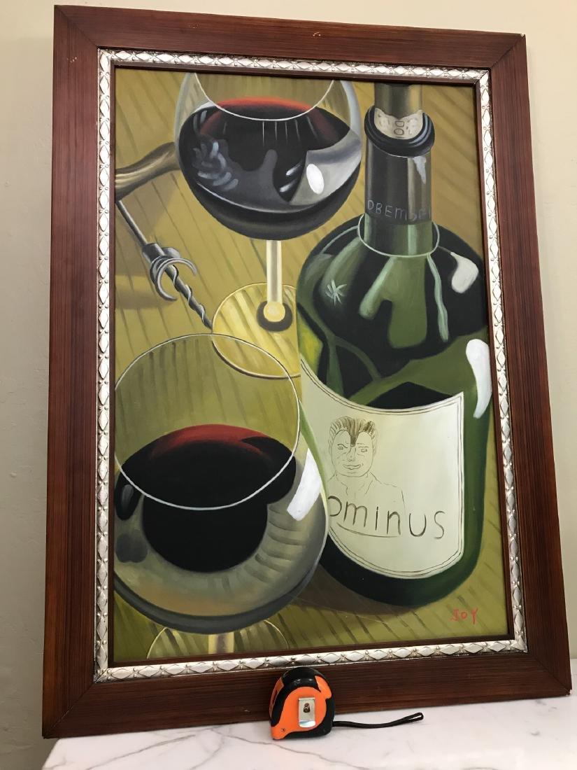 Oil on Canvas of Wine Bottle, Glasses - 5